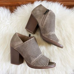 Parker & Sky Asymmetrical Perforated Ankle Booties